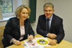 Mary Robinson welcomed Policing Minister Brandon Lewis to Cheadle.
